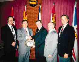 CPIA-Atlantic management committee chairman and general manager, Ipex Inc., Gary Rent presents Sigurdur Johannson, general manager of Saint John-based Dynoplast Ltd., with the Atlantic Plastics Industry Person of the Year Award. Left to rt., Pierre Dubois, president CPIA, Sigurdur Johannson, Gary Rent, Wayne MacIntosh, executive director CPIA-Atlantic, Alan Sundeen, Chairman CPIA, president & CEO Weber Mfg. Ltd.