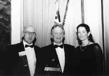 Industry pioneer and Husky Injection Molding Systems CEO Robert Schad hasbeen awarded the 1998 Ursaki Award, recognizing the Canadian Sales and Marketing Executive of the Year. The award was presented by the Sales and Marketing Executives of Toronto at a gala dinner held on February 28th at Toronto's Royal York Hotel. The event set a record with an attendance exceeding 300 guests. Pictured are (left to right) David Gould, president of Bald Eagle Consulting Inc. and SME Toronto, Inc., Robert Schad andhis wife Elizabeth.