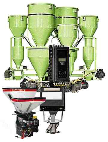 The Maguire blender with Extrusion Control Network is one-third the size of a similar throughput conventional blender equipped for yield control because the design eliminates redundant hardware.