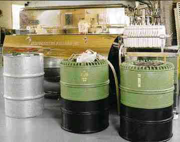 The most ambitious of IPL's new designs is an injection molded barrel for bulk transportation of liquids. It aims to replace the standard 32 Imp. gallon steel drum. The barrel is molded in two parts, then welded. A plastic liner allows it to be reused.