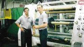 Jean-Luc Lavergne (lt.) and Marc Roy with the end product of the PETCO division: clear, uncontaminated PET sheet.