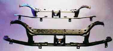 The plastic/metal composite grille opening reinforcement (GOR), made for Ford's 2000 Focus by Visteon, is molded from Bayer's Durethan BKV 30 percent glass-filled polyamide 6 resin, and two metal stampings. The hybrid metal/plastic technology produced a GOR with a 40percent saving in weight over metal with equal performance.