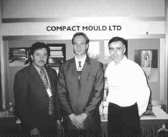 Compact Injection Molds and Heins PCM Machinery have recently sold molds and machinery to Argentina-based Enplas S.A.I.C. Pictured left to right: Miguel Petrucci, president Compact Mould Ltd., Walter C. Svedas, president Enplas S.A.I.C. and Vince Gucciardi, engineering manager, Compact Mould Ltd.