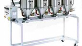 Hopper bank controls from Dri-Air offer precise drying management for multiple resins. The PLC-based controls have a touch-screen interface to set start times and drying temperatures for each hopper.