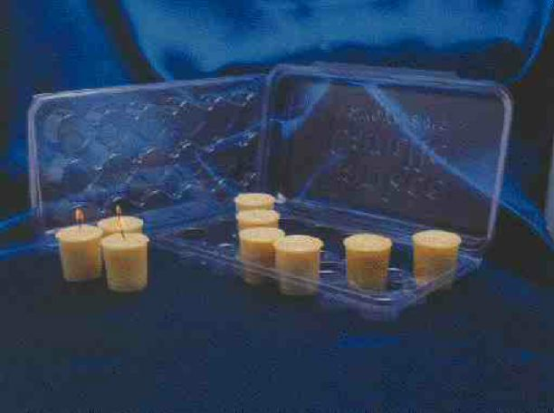 Universal Plastics thermoforms these votive candle display cartons from rolls of clear PVC for Yankee Candle Company. The company has placed an order for 1.6 million of the cartons, which are molded with a living hinge and lid, and a nominal wall thickness of 0.010 in.