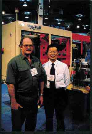 Haitan president and CEO Kingsley Qi Qin (rt.) and Plastech Machinery Solutions' Dava Anaka, Haitan's Canadian-based service representative, are now offering machines specially designed for the North American market.