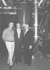 Standing proud by their Davis-Standard custom film line are (l to r) Imaflex's Tony Abbandonato, production manager; Gerry Phelps, vice-president, engineering; and Joseph Abbandonato, president.