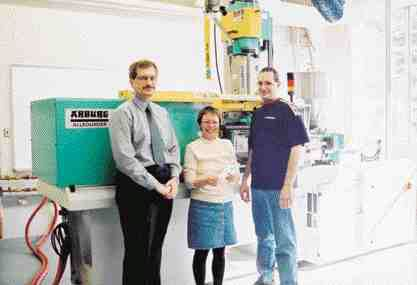 MMRI's lab team: Andrew Hrymak (left), acting director, with Elizabeth Takcs, polymer laboratory manager, and Warren Reynolds, facilities manager.