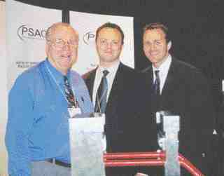 PSAC was formed to market Frank Maine's oriented polypropylene technology for wood-plastic composites. Maine (left) was at the show with his son Shane Maine (right), who has responsibility for corporate development at PSAC and Philip Walsh (centre), who is in charge of business development.