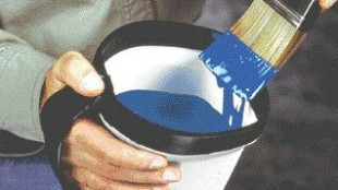 5. Key features of the Handy Paint Pail: a strap facilitates holding the pail, a magnet inside holds the paintbrush in place, and the design contributes to fast and easy washing. Worrell Design 952-946-1966