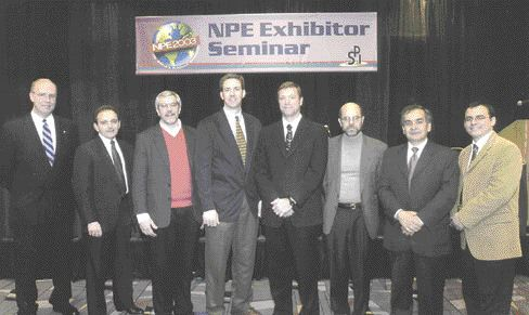 Editor Michael LeGault (fourth from rt.) was one of a group of trade magazine editors invited to speak to exhibitors attending the pre-NPE Exhibitor Seminar in January.B