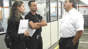 Visiting Fast Tools: Eliane Podadera, sales and marketing manager and Alexandre Barros, hot-runner specialist, both of Mold-Masters do Brasil Ltda., with Carlos Paes (right).