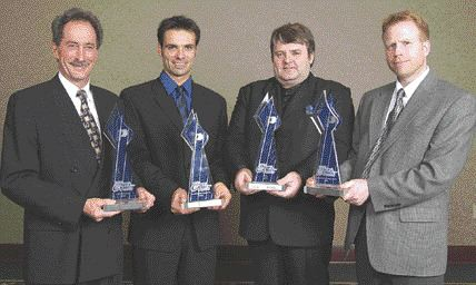 The winners' circle: receiving GALEA awards are, from left to right, Denis Lacasse, chairman of the board, Groupe Solmax; Jean-Franois Rivest, president, Kayak Voodoo; Zbgniew Karczewski, president, Micro Moules; Stephen Thompson, manufacturing engineering manager, Mark IV.