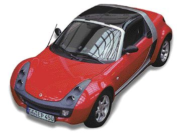 """The Society of Plastics Engineers gave its Grand Award to the roof module (above) on the Smart GmbH (Div. of DaimlerChrysler) Roadster. The roof module is made from co-extruded """"paintless"""" Lexan SLX film supplied by GE Plastics."""