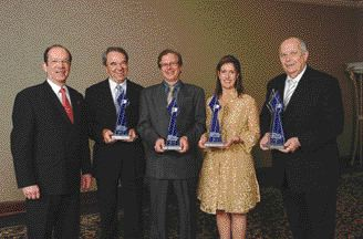 The Galea awards presented by CPIA's Quebec Region recognize Quebec's best plastic businesses. Lawrence Bergman (left), representing Quebec's Ministry of Revenue, is pictured with the 2004 winners (left to rignt): Robert Champagne, general manager, Canplast; Antoine Elie, vice-president, Pelican International; Dany Belleville, director of finance and human resources, Plastiques GPR; and Reuben Spector, national account manager, NOVA Chemicals Corp. Photo: Yvon Latreille