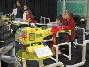 Ten-year-old Timothy Siu created this helicopter ambulance from used plastic products. It took first place in CPIA's Design Challenge, which asked children to transform used plastic products into new items.
