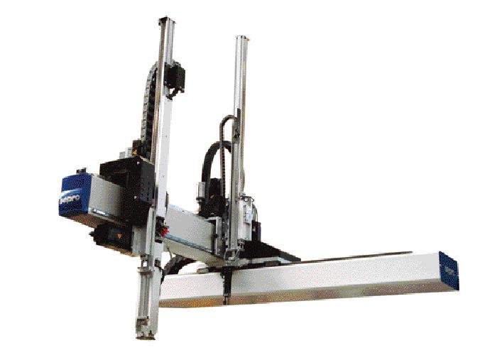 The Axess Twin beam robot from Sepro America, which comes with two vertical-axis arms for use with three-plate molds.
