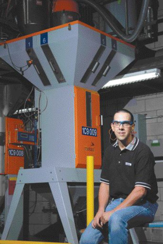 Mark IV's newest blender can process 1,000 kg/hour, says technical coordinator Normand Lgar.