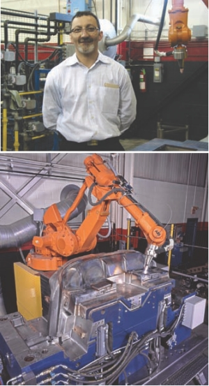 Pat Zaffino on the shop floor. Tool-Tec's robotic cell welding a mold.