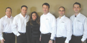 (Left to right) Louis Corriveau, Jean-Franois Continelli, Angela Salera, company president Franois Ct, Jean-Philippe Ct, and David Marois.