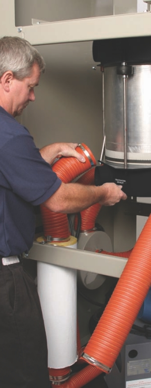 Check the integrity of the hoses in a dryer to ensure that adequate air volume and temperature are maintained.