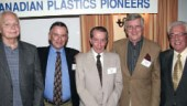 "The Canadian Plastics Pioneers (CPP) held a reunion and citation awards dinner in Toronto in June. Tom Thomas (middle), former CPP chairman and co-founder of plastics processor Canada Cup, was honoured for his longstanding involvement in the industry. The evening also included the handing out of ten ""Half Century"" citations to members with a 50-year history in the industry."
