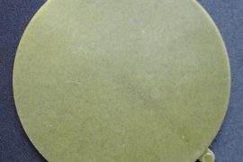 Plate-size disk injection molded with algae-based resin.