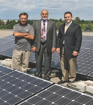Miguel Petrucci, Kular and Kokkoros on the Brampton facility rooftop.