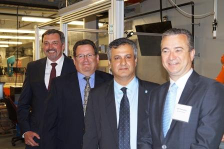 L to R: Chris Poynter, Vice President and General Manager, Discrete Automation and Motion Division, ABB Canada, Casey DiBattista, General Manager, ABB Canada, Dr. Farzad Rayegani, Associate Dean of Mechanical and Electrical Engineering at Sheridan, Dr. Jeff Zabudsky, President and CEO, Sheridan.