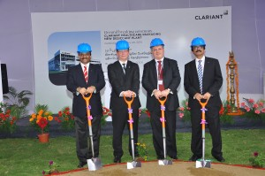 From left: Deepak Parikh, Region President India, Christian Kohlpaintner, Member of Clariant's Executive Committee, along with Marco Cenisio, Business Unit Head Masterbatches, and Ketan Premani, Head Clariant Healthcare Packaging Sales, India, performed the groundbreaking ceremony.