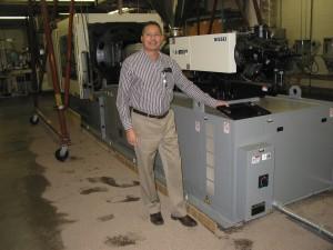 Michael Draga and the new 500 ton Nissei unit.