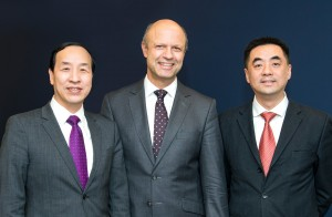 From left: Ting Cai, chairman and CEO of China National Chemical Equipment Co. Ltd. (CNCE); Frank Stieler, CEO of KraussMaffei Group, and Chen Junwei, CEO of the ChemChina Finance Co. Ltd.