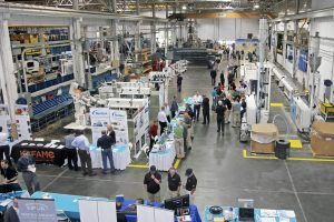 Inside the TechCenter of the Krauss-Maffei Corporation (Extrusion Technology) during the open-house event.