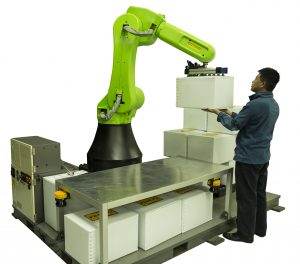 Palletizing with a Fanuc CR-35iA collaborative robot.