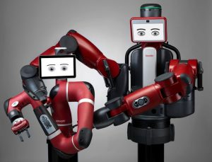 The Sawyer (left) and Baxter collaborative robots from Rethink Robotics Inc.