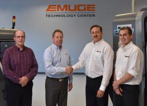 From left: Mark Hatch, Product Director, Emuge Corp.; Bob Hellinger, President, Emuge Corp; Stas Mylek, Senior Product Marketing Specialist, Mastercam & Jesse Trinque, Applications Engineer, Mastercam.